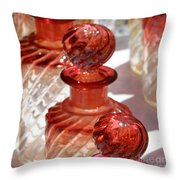 Crystal Bottles Throw Pillow by Lainie Wrightson