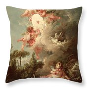 Cupids Target Throw Pillow by Francois Boucher