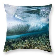 Curl Of Wave From Underwater Throw Pillow by Dave Fleetham - Printscapes