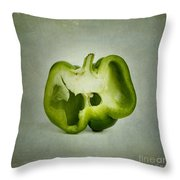Cut green bell pepper Throw Pillow by BERNARD JAUBERT