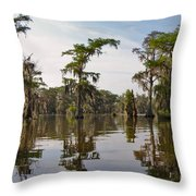 Cypress Trees And Spanish Moss In Lake Martin Throw Pillow by Louise Heusinkveld