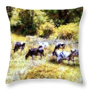 Dairy Cows In A Summer Pasture Throw Pillow by Janine Riley