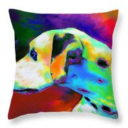 Dalmatian Dog Portrait Throw Pillow by Svetlana Novikova