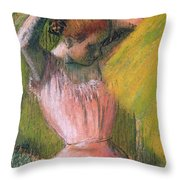Dancer Arranging Her Hair Throw Pillow by Edgar Degas