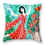 Dancer In Red Sari Throw Pillow by Sushila Burgess