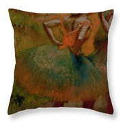 Dancers Wearing Green Skirts Throw Pillow by Edgar Degas