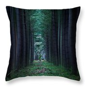 Dark side of Forest Throw Pillow by Svetlana Sewell