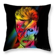 David Bowie Throw Pillow by Mark Ashkenazi