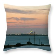 Dawn At The Sunshine Skyway Bridge Viewed From Tierra Verde Florida Throw Pillow by Mal Bray