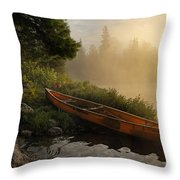 Dawn on Boot Lake Throw Pillow by Larry Ricker