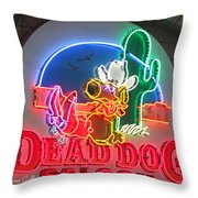 Dead Dog Saloon Throw Pillow by Suzanne Gaff