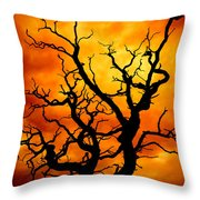 Dead Tree Throw Pillow by Meirion Matthias