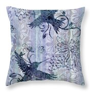 Deco Hummingbird Blue Throw Pillow by JQ Licensing