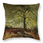 Deer In A Wood Throw Pillow by Joseph Adam