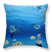 Delphinus Throw Pillow by Angel Ortiz