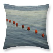Denmark Red Safety Balls Floating Throw Pillow by Keenpress