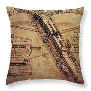 Design for a Giant Crossbow Throw Pillow by Leonardo Da Vinci