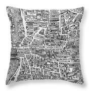 Detail From A Map Of Paris In The Reign Of Henri II Showing The Quartier Des Ecoles Throw Pillow by French School