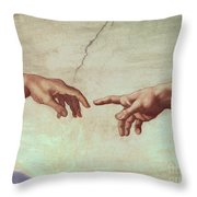 Detail from The Creation of Adam Throw Pillow by Michelangelo