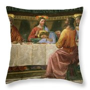 Detail From The Last Supper Throw Pillow by Domenico Ghirlandaio