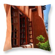 Detail Of A Pueblo Style Architecture In Santa Fe Throw Pillow by Susanne Van Hulst