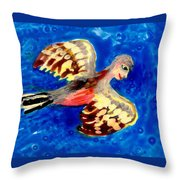 Detail Of Bird People Flying Chaffinch  Throw Pillow by Sushila Burgess