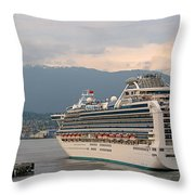 Diamond Princess Leaving Vancouver British Columbia Canada Throw Pillow by Christine Till