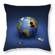 Digitally Generated Image Of The Earth Throw Pillow by Vlad Gerasimov