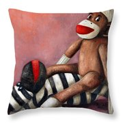 Dirty Socks 3 Playing Dirty Throw Pillow by Leah Saulnier The Painting Maniac