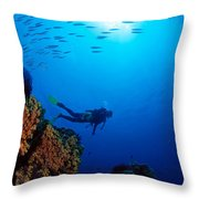 Diving Scene Throw Pillow by Ed Robinson - Printscapes