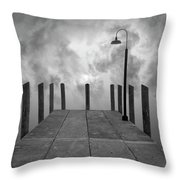 Dock And Clouds Throw Pillow by Dave Gordon