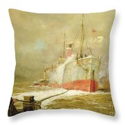 Docking A Cargo Ship Throw Pillow by William Lionel Wyllie
