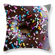 Donut With Sprinkles Throw Pillow by Kim Fearheiley