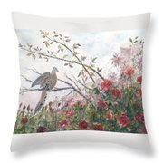 Dove And Roses Throw Pillow by Ben Kiger