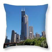 Downtown Chicago Skyline - View Along the River Throw Pillow by Suzanne Gaff