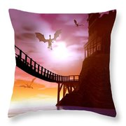 Dragon Manor Throw Pillow by Cynthia Decker