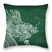 Dragon On Chalkboard Throw Pillow by Setsiri Silapasuwanchai