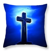 Dramatic Jesus Crucifixion Throw Pillow by Pamela Johnson