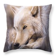 Dreamscape - Wolf Throw Pillow by Sandi Baker