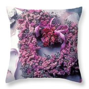 Dried flower heart wreath Throw Pillow by Garry Gay