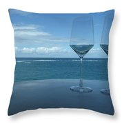Drinks On The Terrace Throw Pillow by Anna Villarreal Garbis