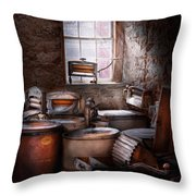 Dry Cleaner - Put you through the wringer  Throw Pillow by Mike Savad