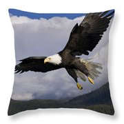 Eagle Flying In Sunlight Throw Pillow by John Hyde - Printscapes