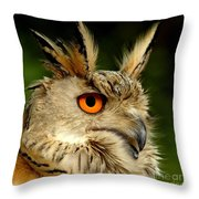 Eagle Owl Throw Pillow by Jacky Gerritsen