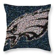 Eagles Bottle Cap Mosaic Throw Pillow by Paul Van Scott