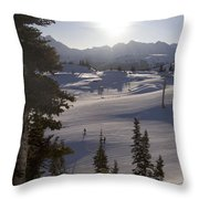 Early Morning Skiing Throw Pillow by Taylor S. Kennedy