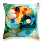 Earth Balance - Yin And Yang Art Throw Pillow by Sharon Cummings