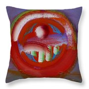 Earth Button Throw Pillow by Charles Stuart