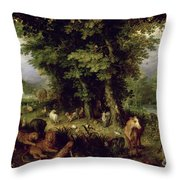 Earth Or The Earthly Paradise Throw Pillow by Jan the Elder Brueghel
