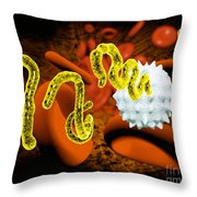 Ebola Virus Throw Pillow by Victor Habbick Visions and SPL and Photo Researchers